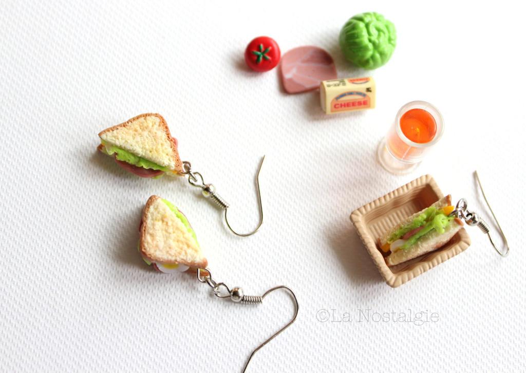 Miniature Sandwich Earrings Food Jewelry by LaNostalgie05 ...