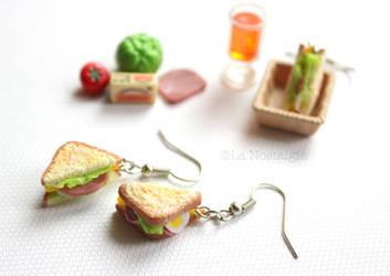 Miniature Sandwich Earrings by LaNostalgie05