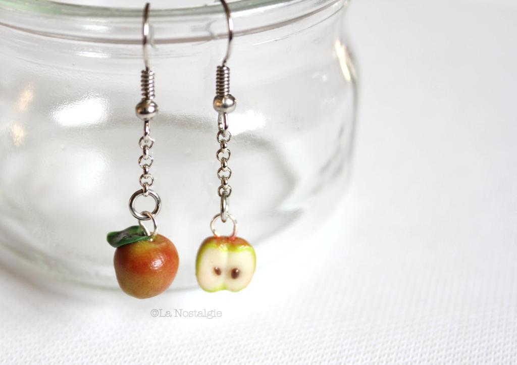 Red Apple Dangle Earrings Realistic Food Jewelry by ...