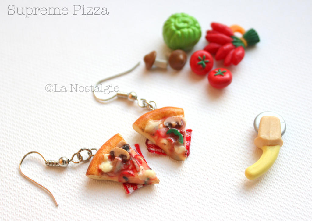 Miniature Pizza Supreme Flavor Food Jewelry by LaNostalgie05
