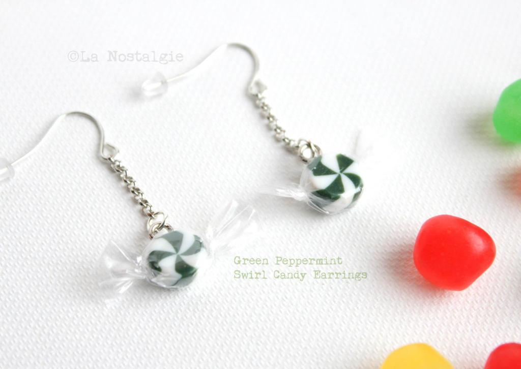 Green peppermint swirl candy earrings handmade by for Peppermint swirl craft show