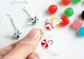 Mini Christmas Candies Handmade Earrings by LaNostalgie05