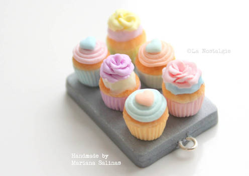 Beautiful miniature pastel cupcakes handmade