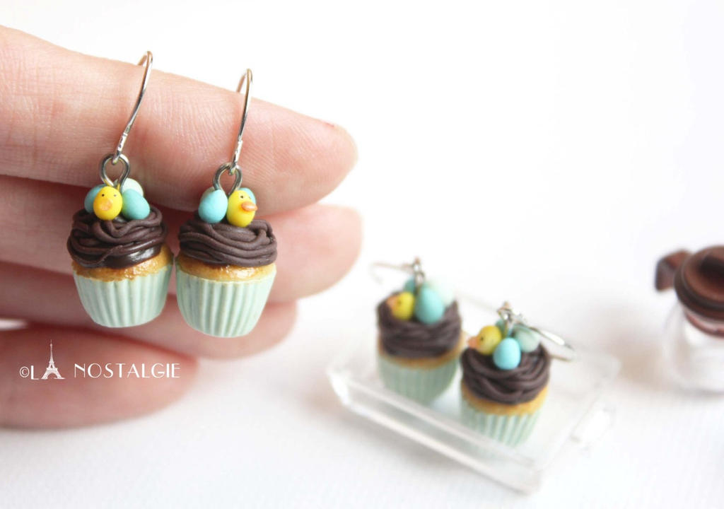 Cupcakes Easter Handmade Jewelry Earrings by LaNostalgie05