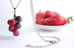 Blueberry and Red Berries Handmade Necklace by by LaNostalgie05