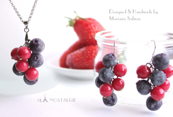Blueberry Jewelry Berries Handmade Clay Fruits by LaNostalgie05