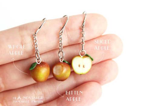 Spring red Apple Dangle Fruit Earrings Customised