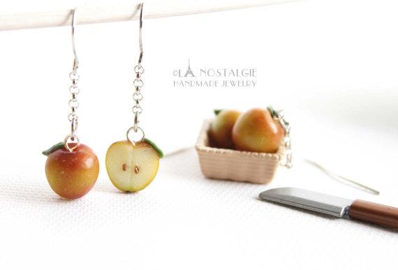 Spring Red Apple Sliced Earrings Handmade by LaNostalgie05