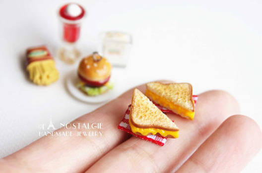 Toasted Cheese Sandwich Studs Earrings Jewelry