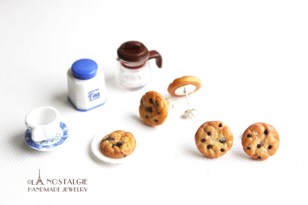 Miniature Chocolate Chip Cookie Studs Jewelry by LaNostalgie05