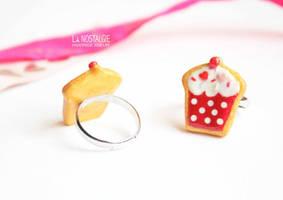 Cute Red White Polkadot Cupcake Ring Jewelry