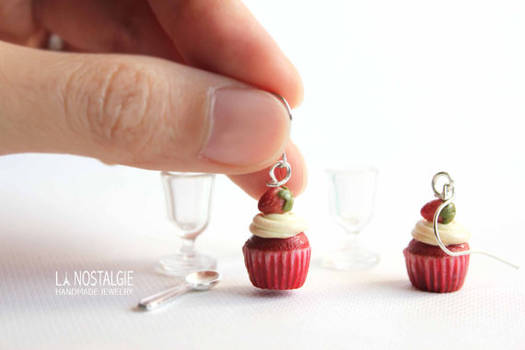 Cute and realistic Strawberry red velvet cupcake