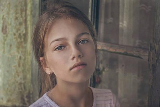 Blonde Girl Portrait By Little Girl Stock