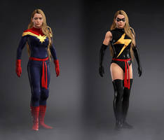 WWE 2k17 Captain Marvel and Ms Marvel 1 by Josh-84