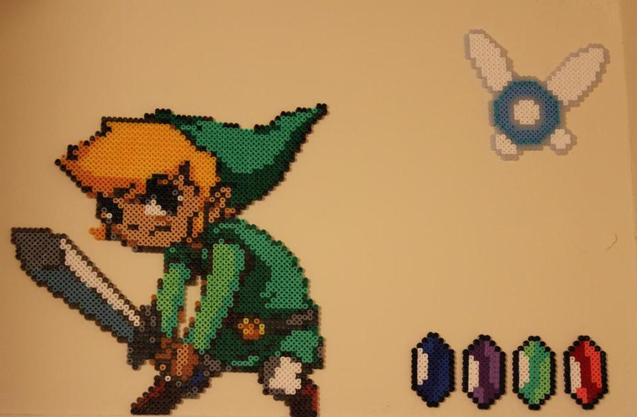 Perler Bead Toon Link with Navi and Rupees by Alexananandra