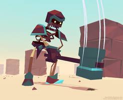 FlatShaded3D#01: Hammer Swinging Skeleton