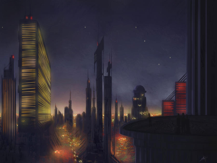 space city night by touchedbyred on deviantart