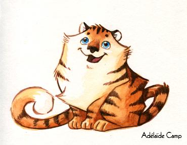 Dessin de tigre (aquarelle) by Adelaide-Camp