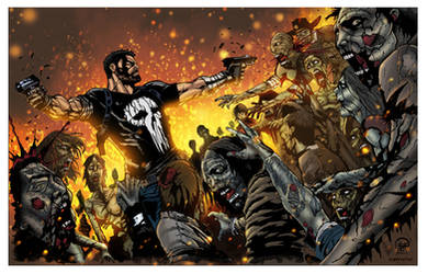 frank castle vs zombies: color study by rcardoso530