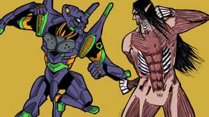 Attack on titan vs evangelion 01