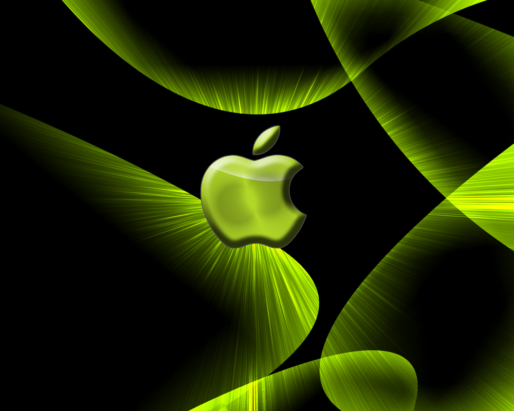 Black aqua wallpaper w. apple by Innercityghettozone