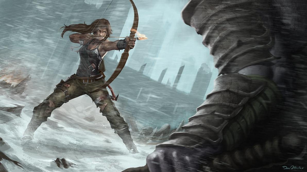 Lara Croft against the giant samurai zombie by DanOliveira