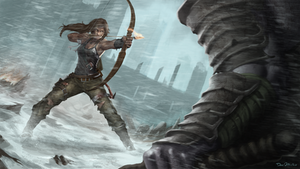 Lara Croft against the giant samurai zombie