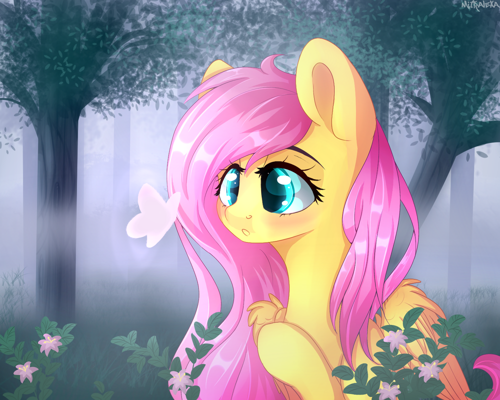 Fluttershy in the forest by mitralexa