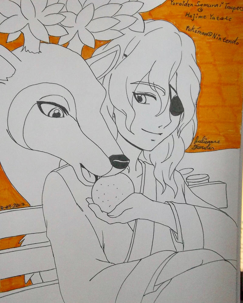 Dais/Rajura feeding a deer in summer.