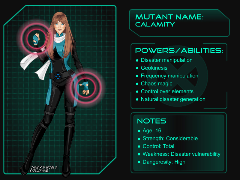 X Men mutant OC: Calamity by Miximini on DeviantArt X Men Girl Creator