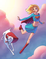Supergirl and Krypto Collaboration by Mro16
