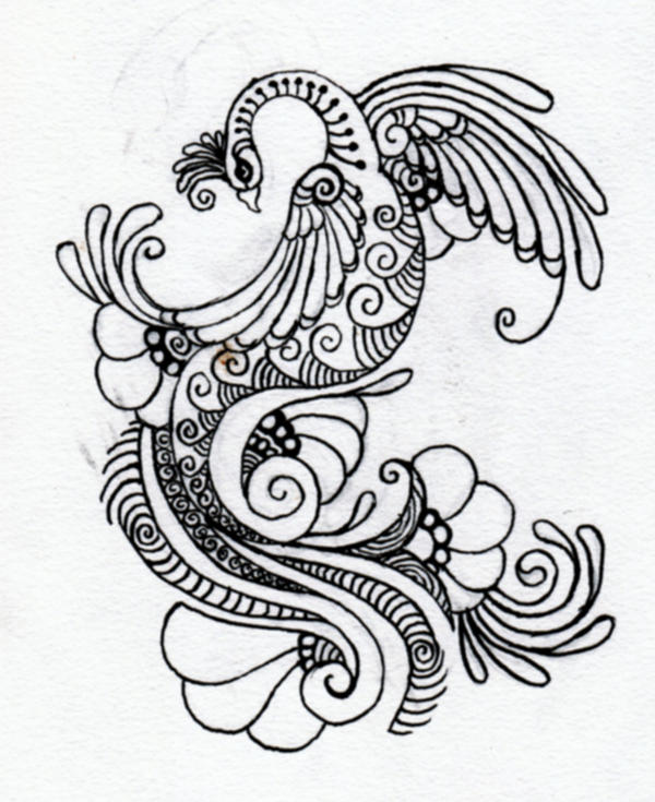 Peacock drawing tattoo with color