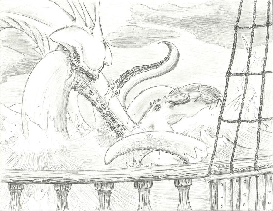 Kraken vs leviathan by Kyloco117 on DeviantArt