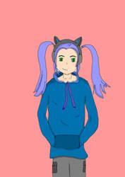 Cat headphones girl