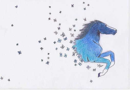 Horse turns to butterflies!