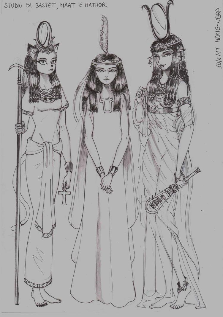 Sketch of  Bastet, Maat e Hathor by Libra-marig