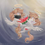 3 watermelon angels (commission) by Krista-21