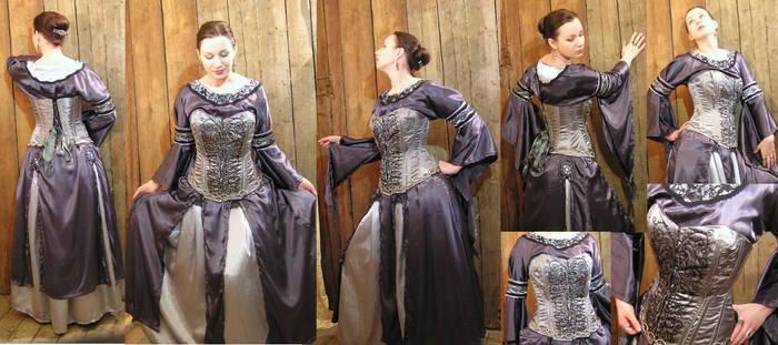Silvergray November Moon dress with a corset