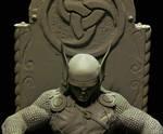 Thor statue unpainted close