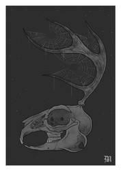 Jackalope skull by sinner-moon