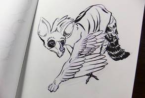 Inktober2016 day 13: Aardwolf/whooping crane by Clean3d