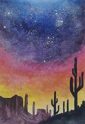 Night Sky Over The Desert by Belseg