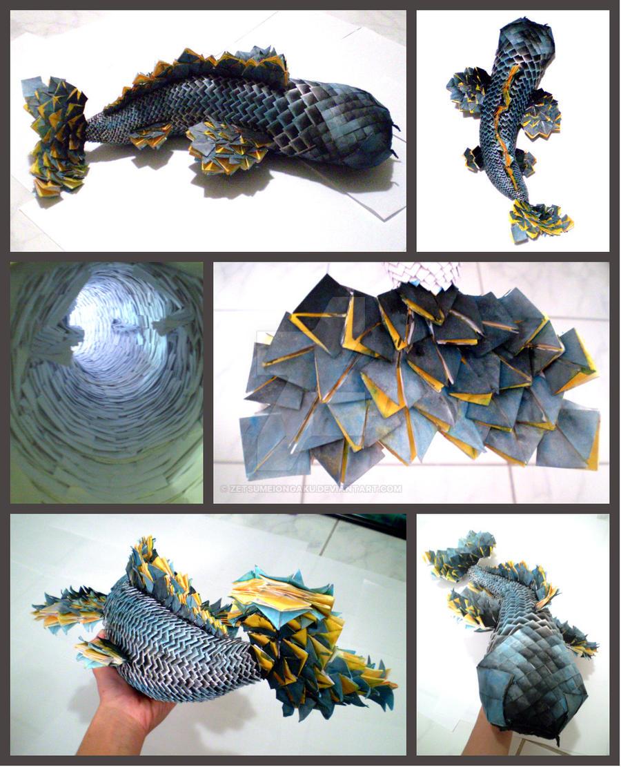 3d origami koi fish by zetsumeiongaku on deviantart for Origami koi fish