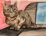 Tortie Cat Watercolor