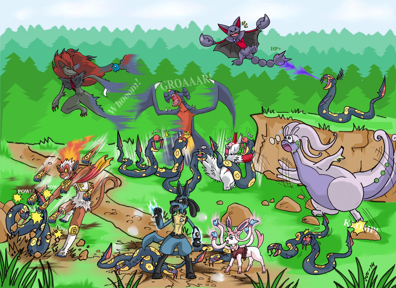 Zangoose And Seviper Horde A horde of seviper appeared by marjo-sanZangoose And Seviper Horde