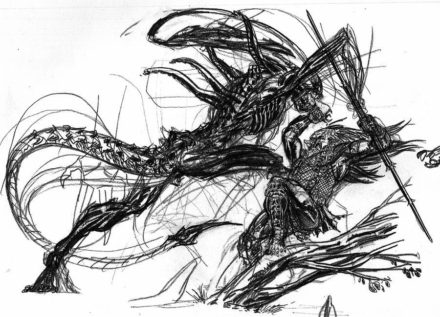 aliens vs predator drawings - photo #41
