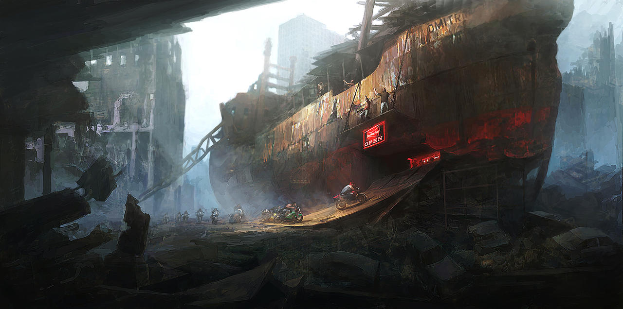 Post Apocalyptic Bikers base by PeteAmachree