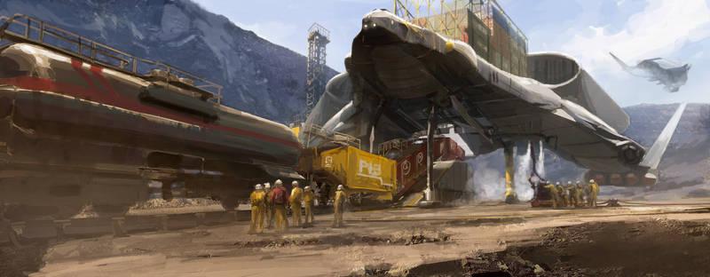 OffWorld open cast mine freighter loading