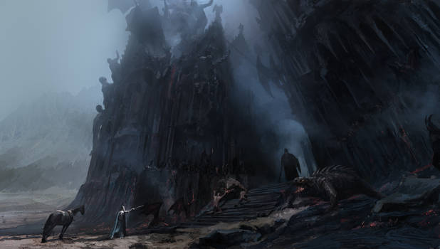 Fingolfin challenges Morgoth @ the gate of Angband