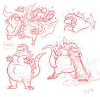 Godzilla sketches by JonDavidGuerra